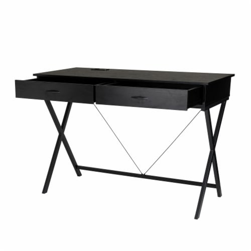 Glitzhome Modern Industry Metal/Wooden Writing Desk - Black Perspective: front