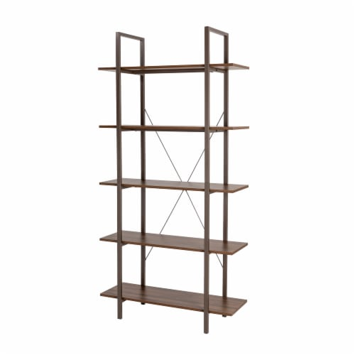 Glitzhome Modern Industry Metal/Wooden 5-Tier Bookcase & Shelves - Black/Walnut Perspective: front