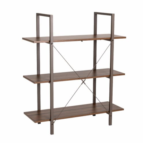 Glitzhome Modern Industry Metal/Wooden 3-Tier Bookcase & Shelves - Brown/Walnut Perspective: front