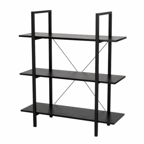 Glitzhome Modern Industry Metal/Wooden 3-Tier Bookcase & Shelves - Black Perspective: front