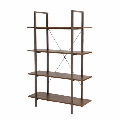 Glitzhome Modern Industry Metal/Wooden 4-Tier Bookcase & Shelves - Brown/Walnut Perspective: front