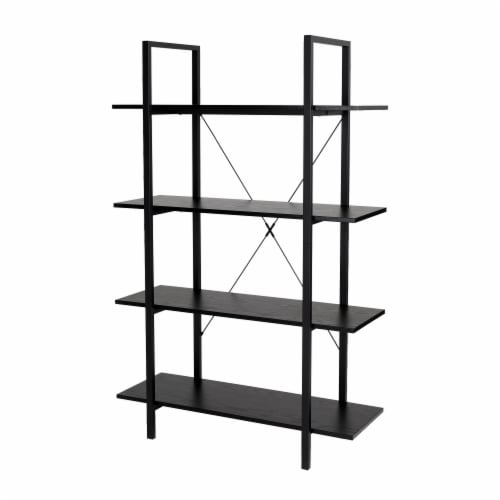 Glitzhome Modern Industry Metal/Wooden 4-Tier Bookcase & Shelves - Black Perspective: front