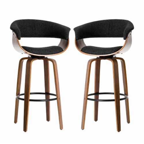 Glitzhome Mid-Century Modern PU Leather Bentwood Swivel Bar Chair - Oak/Gray Perspective: front
