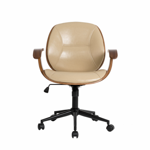 Glitzhome PU Leather Adjustable Swivel Desk Chair - Cream Perspective: front
