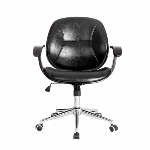 Glitzhome PU Leather Adjustable Swivel Desk Chair - Black Perspective: front