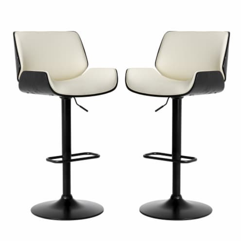 Glitzhome PU Bentwood Adjustable Swivel Bar Stool - Black/White Perspective: front