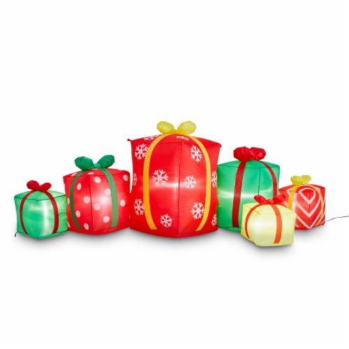 Glitzhome Lighted Inflatable Gift Boxes Décor Perspective: front