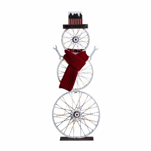 Glitzhome Lighted Metal Snowman Porch Décor Perspective: front