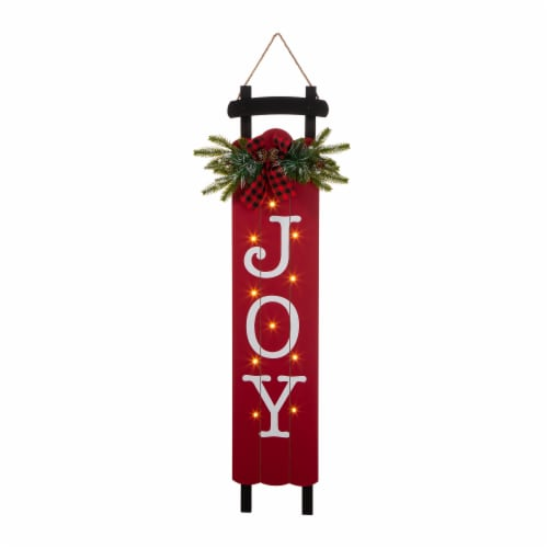 Glitzhome Lighted Wooden Sleigh JOY Porch Sign Perspective: front