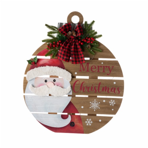 Glitzhome Lighted Round Wooden Santa Porch Décor Perspective: front
