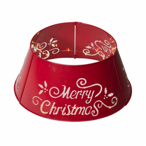 """Glitzhome """"Merry Christmas"""" Cutout Metal Tree Collar with Light String - Red Perspective: front"""