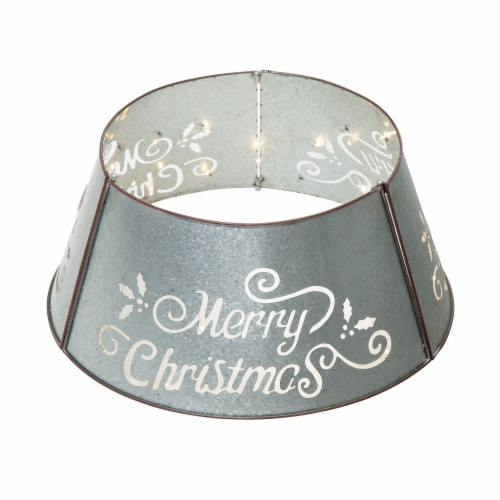 """Glitzhome Galvanized """"Merry Christmas"""" Cutout Metal Tree Collar with Light String - Silver Perspective: front"""