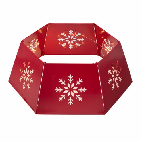 Glitzhome Hexagonal Metal Cutout Snowflake Tree Collar with Light String - Red Perspective: front