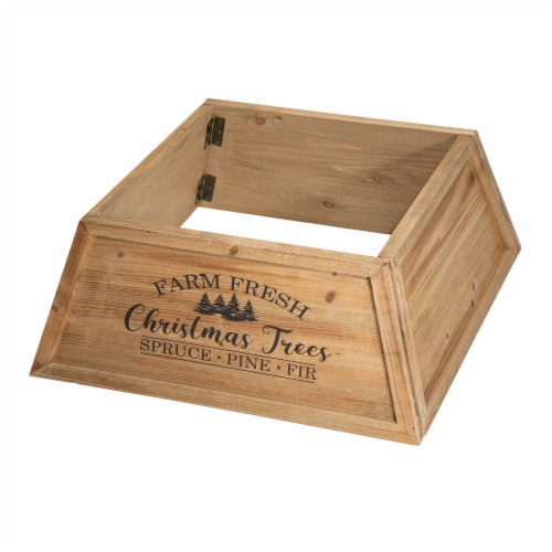 Glitzhome Wooden Trapezoid Farm Fresh Christmas Trees Tree Collar - Natural Perspective: front