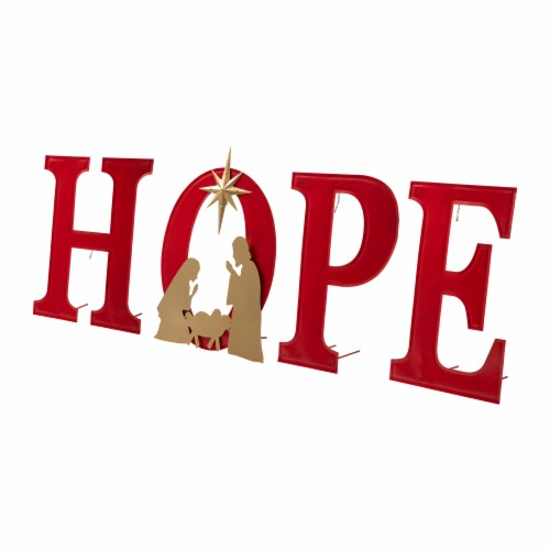 Glitzhome Lighted Metal HOPE Yard Stake or Standing Decor Perspective: front