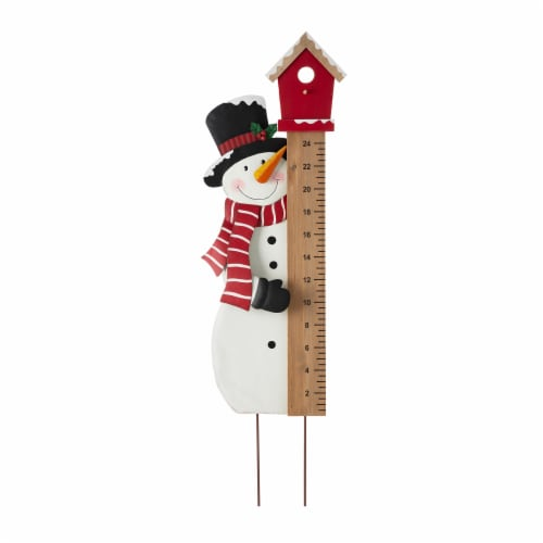Glitzhome Snowman Snow Gauge Yard Stake or Wall Décor Perspective: front