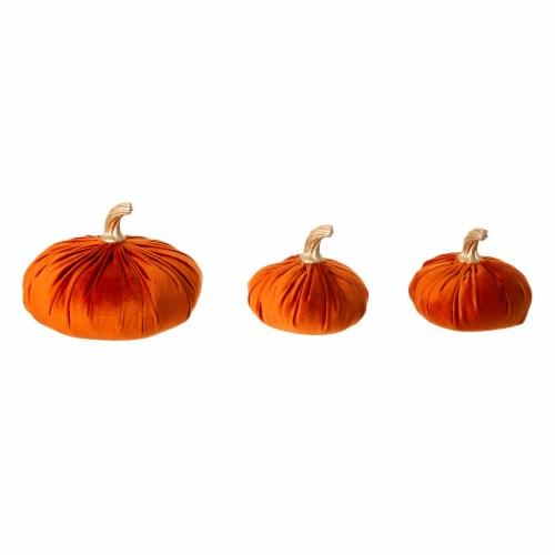 Glitzhome Orange Velvet Pumpkins Decor Perspective: front