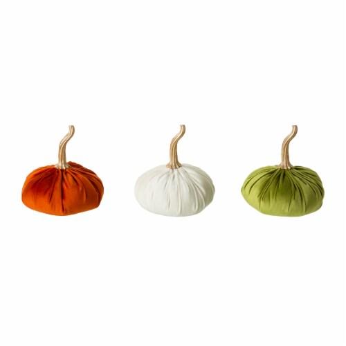 Glitzhome Orange White & Green Velvet Pumpkins Decor Perspective: front