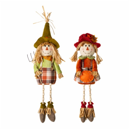 Glitzhome Fall Fabric Scarecrow Shelf Sitters Perspective: front