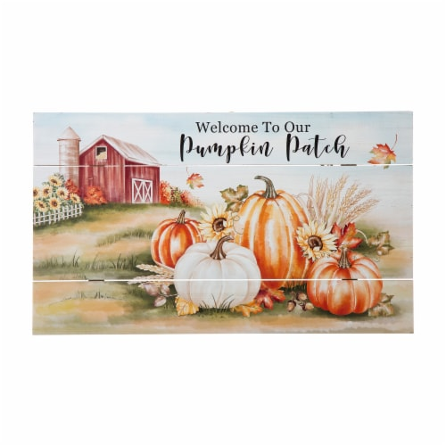 Glitzhome Fall Wooden Pumpkin Patch Wall Sign Perspective: front