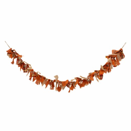 Glitzhome Fall Plaid Garland Perspective: front
