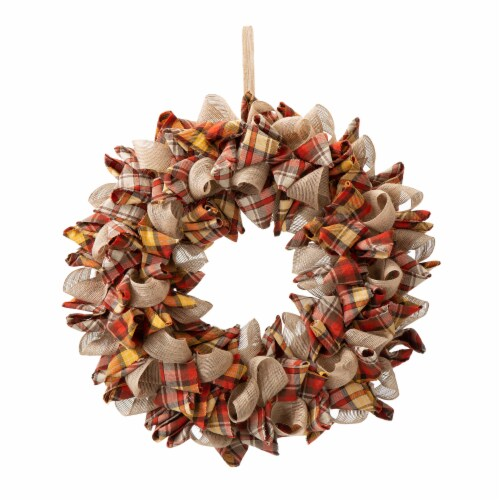 Glitzhome Orange Yellow & Linen Fall Plaid Wreath Perspective: front