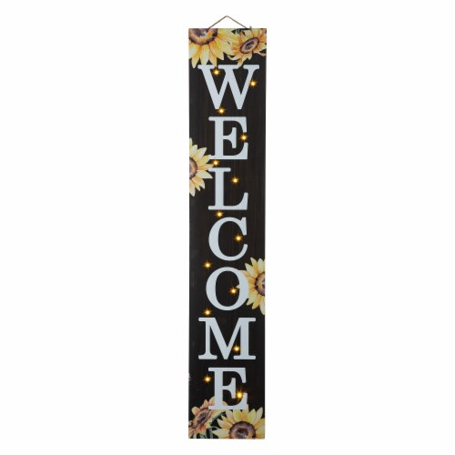 Glitzhome Fall Lighted Sunflower Wooden Porch Sign Perspective: front