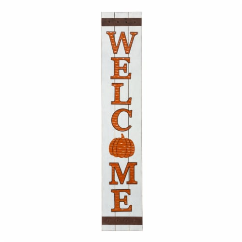 Glitzhome Seasonal Pumpkin Welcome Wooden Porch Sign Perspective: front