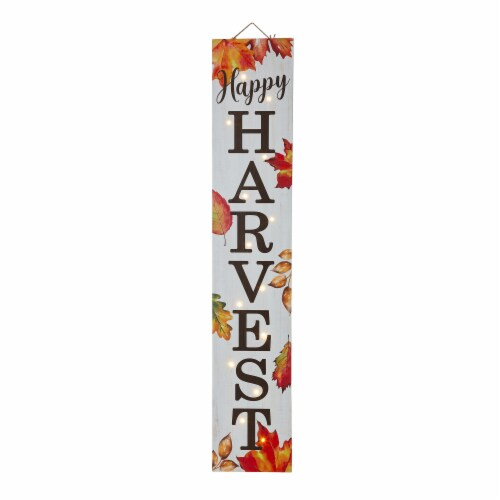 Glitzhome Lighted Happy Harvest Wooden Porch Sign Perspective: front