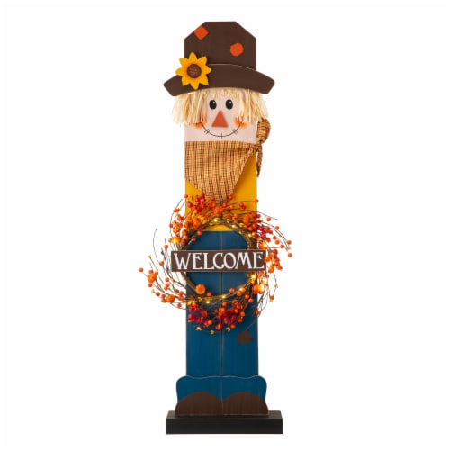 Glitzhome Fall Lighted Wooden Scarecrow with Wreath Porch Decor Perspective: front