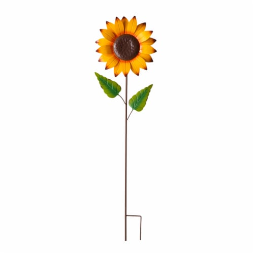 Glitzhome Fall Metal Fully Bloomed Sunflower Yard Stake Perspective: front