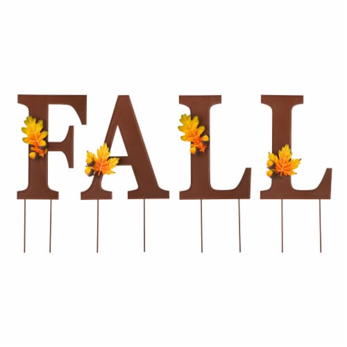 Glitzhome Metal Fall Yard Stake Decor Perspective: front