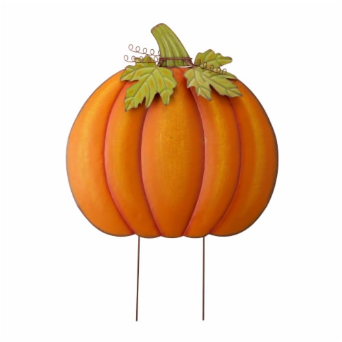 Glitzhome Fall Oversized Metal Pumpkin Yard Stake Decor Perspective: front