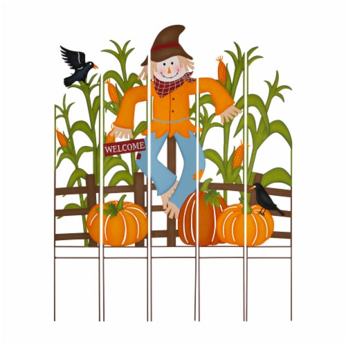 Glitzhome Fall Metal Scarecrow & Corn Farmhouse Yard Stake Perspective: front