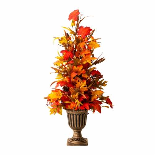 Glitzhome Fall Lighted Maple Leaves Potted Tree with Lights Perspective: front