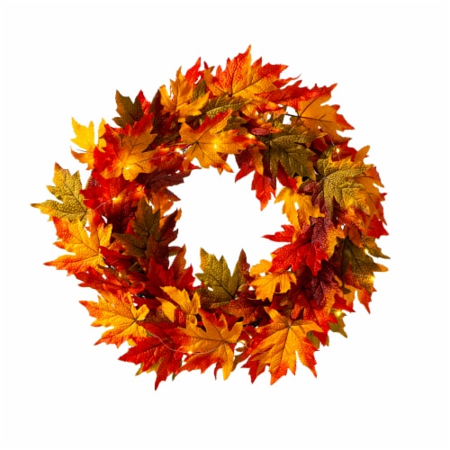 Glitzhome Fall Lighted Maple Leaves Wreath Perspective: front