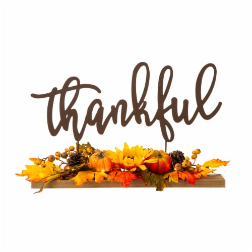 Glitzhome Lighted Floral Thankful Metal Table Decor Perspective: front