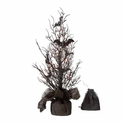 Glitzhome Halloween Lighted Bats Adorable Mini Table Tree Decor Perspective: front