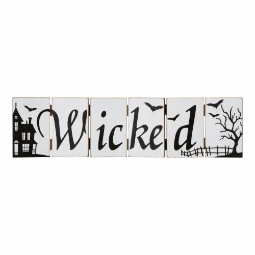 Glitzhome Halloween Wooden Hinged Table Sign Perspective: front