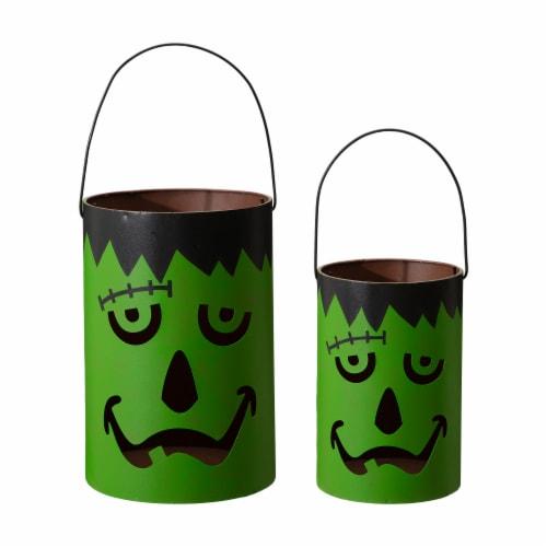 Glitzhome Green / Black Metal Frankenstein Lantern Decor Perspective: front