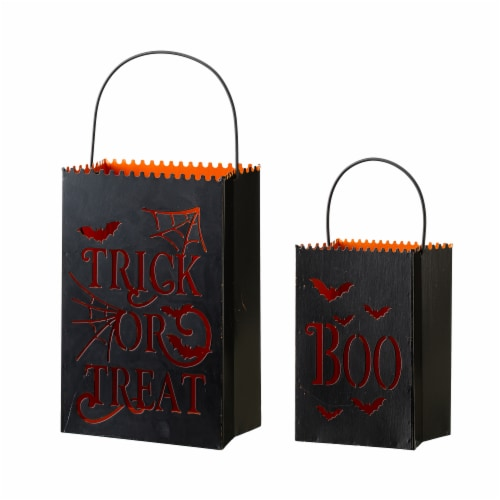Glitzhome Halloween Metal Trick or Treat Buckets Perspective: front