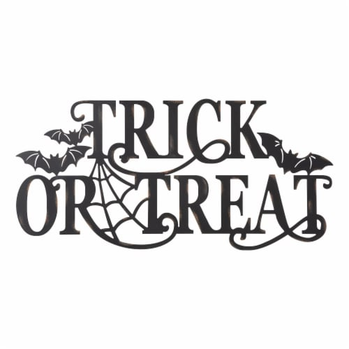 Glitzhome Metal Trick or Treat Wall Sign Perspective: front