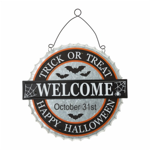 Glitzhome Lighted Halloween Metal Bottle Cap Wall Sign Perspective: front