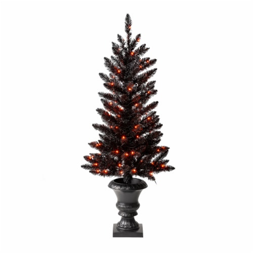Glitzhome Black Lighted Porch Tree with Orange LED Lights Perspective: front