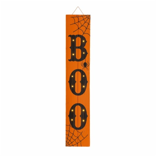 Glitzhome Lighted Wooden BOO Porch Sign Perspective: front