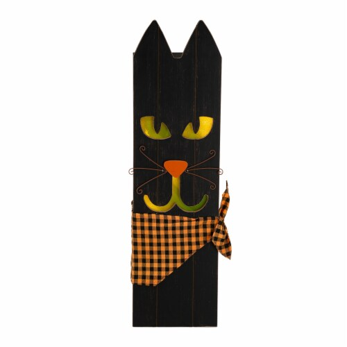 Glitzhome Lighted Wooden Black Cat Porch Decor Perspective: front