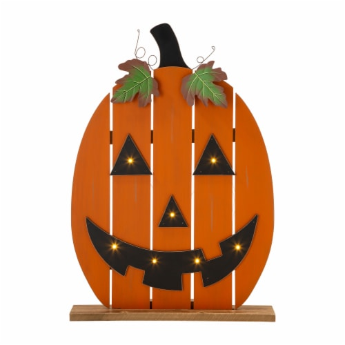 Glitzhome Lighted Wooden Pumpkin Porch Decor Perspective: front