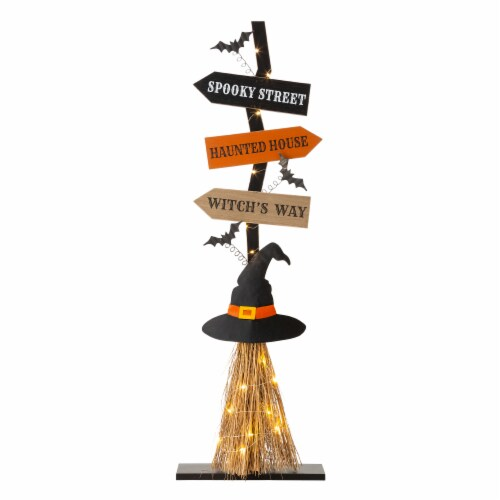 Glitzhome Lighted Witch Broom Wooden Porch Halloween Decor Perspective: front