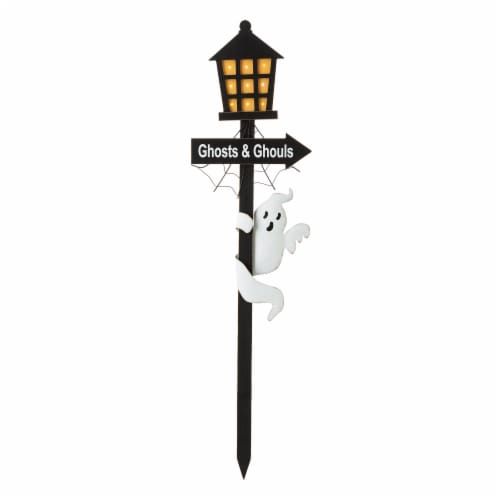 Glitzhome Light Up Halloween Wooden Haunted House Yard Stake Perspective: front