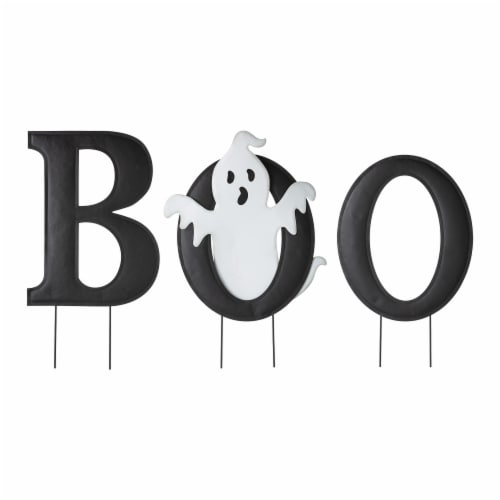 Glitzhome Halloween Metal Printed Ghost BOO Yard Stake Perspective: front